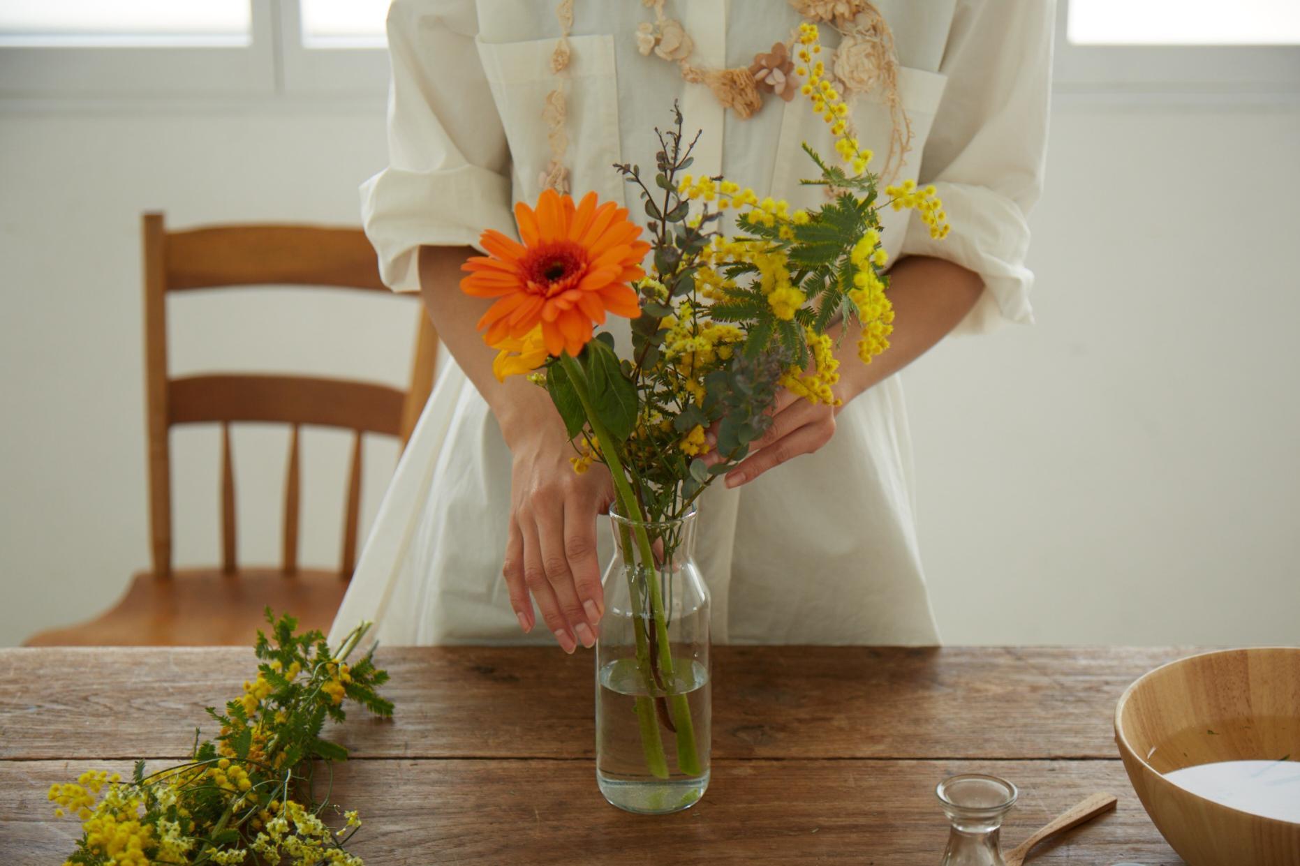 お花のミニブーケ作り